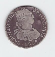 1808 Silver Spanish Carolus Charles 1111 4 Reales Coin 13.2 app grams Y-186