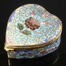 Antique Heart Shaped Champlevé Box