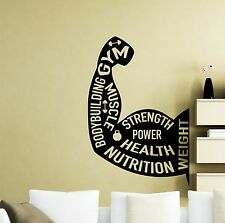 Gym Motivational Wall Decal Bodybuilding Fitness Vinyl Sticker Decor Mural 143ex