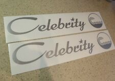 """Celebrity Vintage Boat Decal 18"""" Silver Die-Cut 2-PK FREE SHIP + FREE Fish Decal"""
