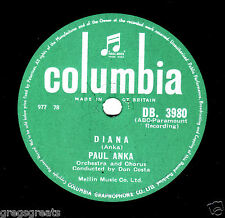 "UK No.1 1957 PAUL ANKA 78 "" DIANA / DON'T GAMBLE WITH LOVE "" COLUMBIA DB 3980 E-"