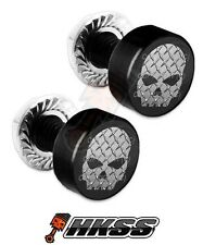 2 Black Billet Aluminum License Plate Frame Tag Bolts - PLATE SKULL G B MIC