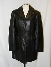 Soft BLACK LEATHER Trench Style Long Jacket Coat by Danier - Womens Size 4 - 6