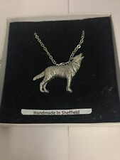 Wolf PP-A26 Emblem Silver Platinum Plated Necklace 18""