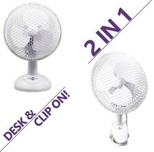 "6"" INCH PORTABLE FAN 2 IN 1 SMALL DESKTOP CLIP ON TABLE DESK AIR COOLING 2 SPEED"