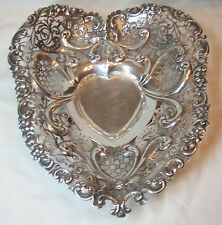 Huge Gorham Sterling Silver Pierced and Footed Heart Bowl 1894- Good Condition