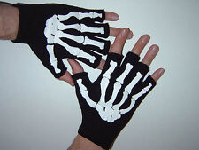 GOTHIC Mens Misfit White Skeleton Bones Fingerless Black Work Gloves Goth Horror