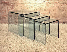 "Glass Waterfall Sofa End Tables - Nest Of Three 16.5"" h"