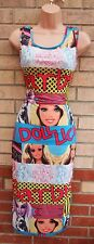 BARBIE DOLL PRINT LOGO FUNKY MULTI COLOR PENCIL BODYCON BACKLESS TUBE DRESS S M