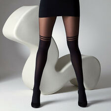 Fashion Women's Stocking Pantyhose Mock Over The Knee Double Stripe Sheer Tights