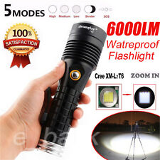 6000LM 5 Modes CREE XM-L2 T6 LED Flashlight Zoomable Military Torch Light Lamp