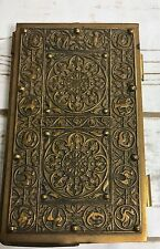 Vintage Ornate Brass Bridge Score Pad Holder Playing Cards Pinochle Address Book