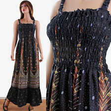 Plus Size Black Peacock Feather Print Tropical Casual Maxi Dress One Size S-2XL