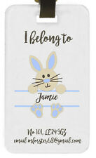 Personalised childs bunny luggage tag name holiday gift birthday