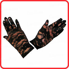 SHORT BLACK FLORA LACE BRIDAL WEDDING PARTY EVENING OPERA PUNK GOTHIC GLOVES