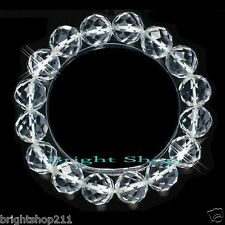 New 12mm Cut Facet Natural Clear Rock Quartz Crystal Stone Shinny Bracelet Gift
