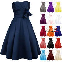Stock New Satin Formal Prom Party Ball Cocktail Gowns Evening Bridesmaid Dresses
