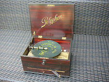 "Polyphon con carrillón 4 campanas Antique Music Box 4 Bells with 8 1/8"" Disc"