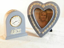 "A  Wedgwood "" Blue "" Jasper Ware Small Dome Clock & Matching Heart shaped Frame."
