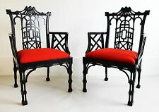 Mid Century Modern Kenyon Chinoiserie Asian Style Pair of High Backed Arm Chairs