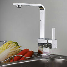 Contemporary Square Single Handle Swivel Kitchen Sink Faucet Mixer Tap A816