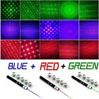 3PC Red+Green+Blue Violet Laser Pointer Pen 5mw Visible Beam+Star Caps FAST Ship