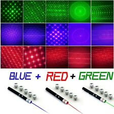 3Pc 6in1 Effect Red+Green+Blue/Violet Laser Pointer Pen 5mw Beam+5Pc Star Caps
