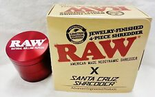 Red RAW Rolling Papers Santa Cruz Tobacco Shredder 4 Piece Grinder Made USA