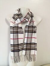 100% CASHMERE SCARF MADE IN SCOTLAND PLAID DESIGN WHITE COLOR SUPER SOFT