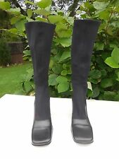 *DIBA LADIES BLACK LEATHER & STRETCH FABRIC KNEE HIGH BOOTS SIZE 8 M