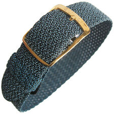 16mm EULIT Panama Blue Woven Nylon Perlon GOLD Buckle German Watch Band Strap