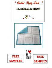 200 QUILTED PUPPY TRAINING, PIDDLE, PADS 23x24 5-LAYER  FREE SAMPLES