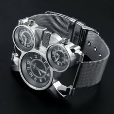 OULM Dual Time Zone Style Men's Sports Stainless Steel Quartz Military Watch