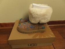 UGG Womens 6 Embroidery Mid Chestnut Brown Multi Winter Boots 1002164 Fur Lined