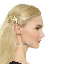 Catwalk Gold Textured 3D Shooting Star Hair Pin Clip Dress Snap Barrette Comb
