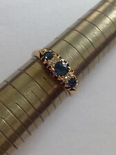 Fine Attractive Edwardian 18ct Gold Cornflower Blue Sapphire & Diamond Ring