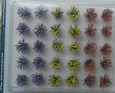 DETACHABLE FLOWER BUSHES ~ SCENERY FOR MODEL RAIL HO SCALE AND WARGAMES, NEW