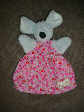 JELLYCAT FLORAL FRIENDS GREY MOUSE HAND PUPPET PINK FLOWERY DRESS SOFT TOY