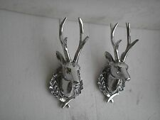 Metal Wall Mount Deer Head Lot of 2 pcs Stag 13 inches each Figurine Statue