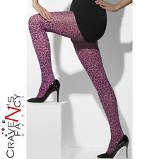 Pink Leopard Print Tights Womens Fancy Dress Costume Accessory Animal New