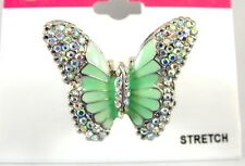 Beautiful New Butterfly Stretch Ring With Crystals NWT #R1212
