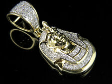 10K Yellow Gold King Tut Pharoah Genuine Diamond Egyptian Pendant Charm 0.33ct