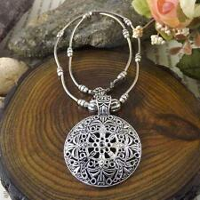Vintage women necklace flower round pendant tibetan silver Gift New