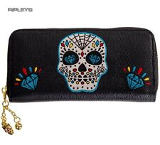 BANNED Clothing Black Wallet Purse   Ticket To Ride Skull Blue Goth