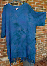 "CAFTAN TUNIC MUMU 2X 3X 4X 5x?  Deep Blue-Purple-Fringe-Bust:56"" Long 39"""