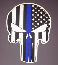 """TWO 3"""" Punisher Skull Thin Blue Line Reflective Decal Sticker"""