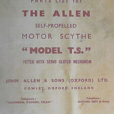 Oxford Allen' Model TS' Motor Scythe Instructions & Spare Parts List on CD