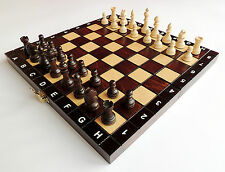 BRAND NEW HANDMADE TRAVEL WOODEN CHESS SET 27cm x 27cm FREE SHIPPING IN EUROPE