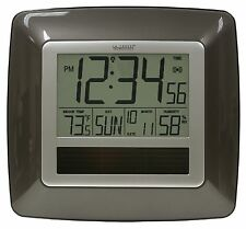 WT-8112U La Crosse Technology Solar Atomic Digital Wall Clock IN Temp / Humid