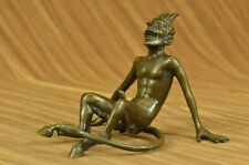 Vintage Art Nouveau Euro Bronze Devil Satan Demon Satyr Sculpture Hot Cast Decor